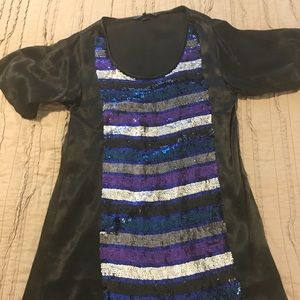 French Connection black and multi-sequined dress
